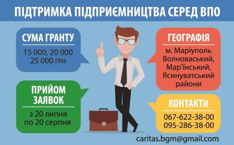 Гранти до 25 тисяч гривень на розвиток бізнесу для ВПО