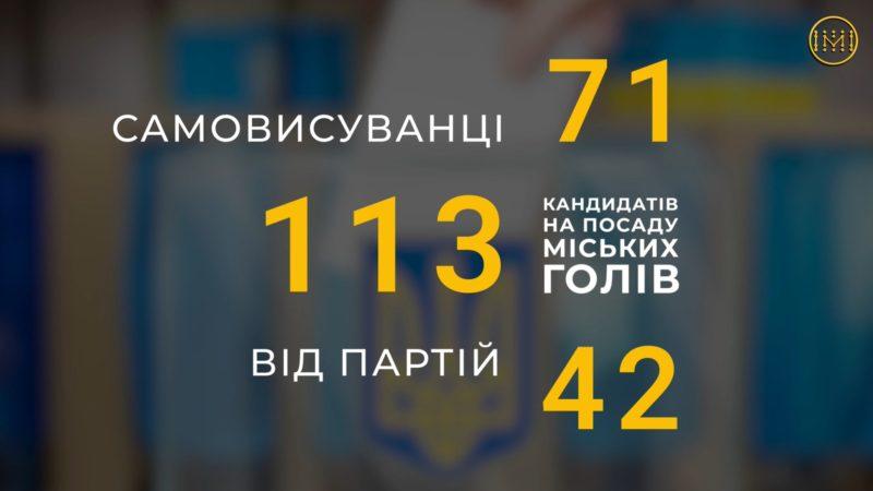 113 кандидатів на посади міських голів зареєстровано на Донеччині
